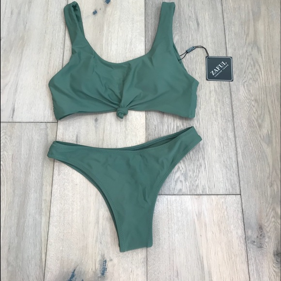 488fc01282 Knotted Scoop High Cut Bathing Suit - Army Green